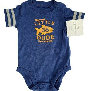 CARTER'S NWT Blue Mommy's Little Dude Onesie NB
